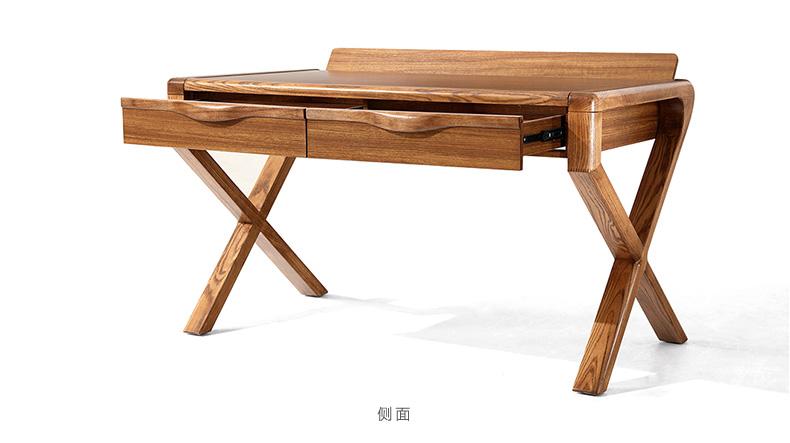 林氏木业现代新中式双人书桌椅组合房间带抽屉木质书法桌子cu1v