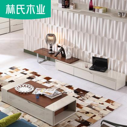 林氏木业北欧风格落地电视柜子小户型简约卧室地柜现代家具KN183