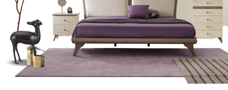 林氏木业北欧现代白蜡木实木床主卧室1.8米小户型大床双人床dd1a