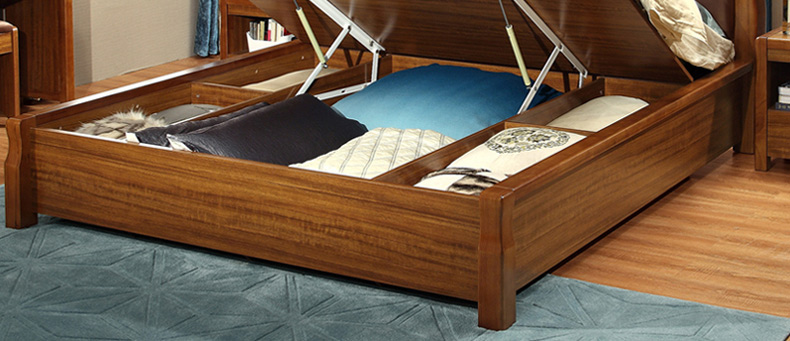 林氏木业真皮软靠大床1.8米 储物高箱床新中式双人床家具套装9810