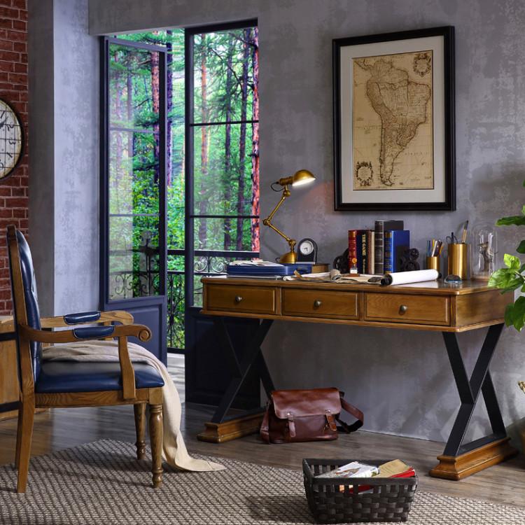 林氏木业家用书房实木写字桌带抽屉美式白蜡木书桌椅子组合dx1v